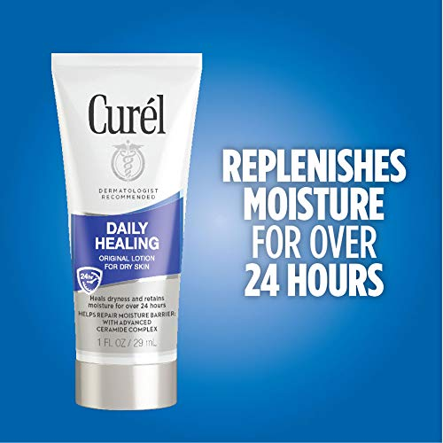 Curél Skincare Daily Healing Dry Skin Moisturizer, 1 Ounce Travel Lotion, 30-pack, with Advanced Ceramide Complex, helps to Repair Moisture Barrier 5