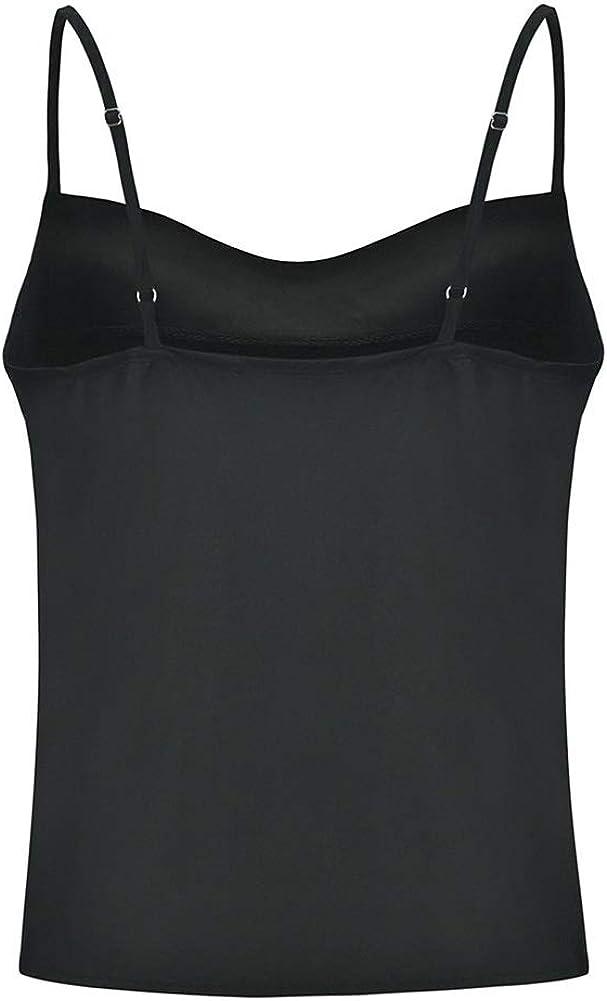 Runyue Donna Top Canottiera in Chiffon di Seta Senza Maniche con Fibbia Regolabile T-Shirt Canotta