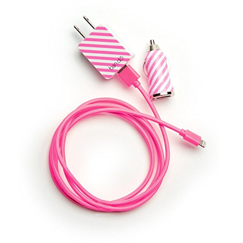 pink stripe iphone charger