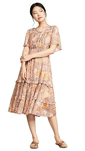 (Spell and the Gypsy Collective Women's Amethyst Garden Party Dress, Blush, Pink, Floral, Medium)