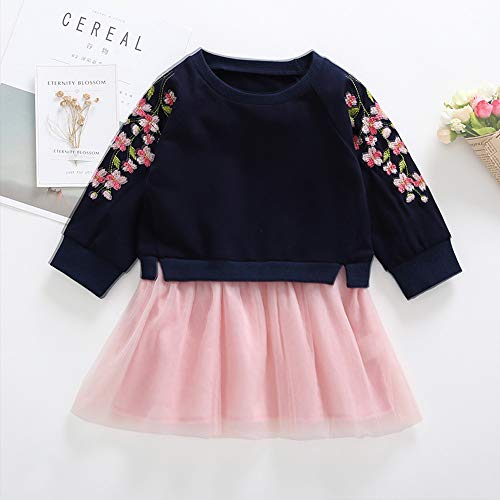 Baby Halloween, Toddler Baby Kids Girls Cherry Blossoms Embroidery Splicing Dresses,Pink,90 -