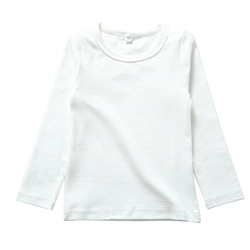 KISBINI Unisex Toddler Big Girls Cotton Long Sleeve Tees Kids T-Shirt White 7T -