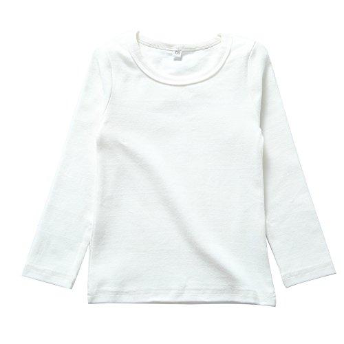 er Girls Cotton Long Sleeve Tees Kids T-Shirt White 2T ()