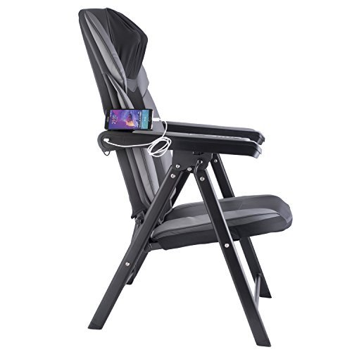 Adjustable Folding Shiatsu Massage Chair with Heat Mode and Kneading Rollers, Seat Vibration, and USB Charger, Neck & Back Muscle Kneading Massager By Bruntmor