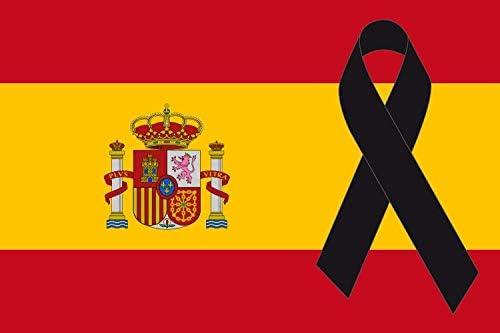 Bandera de España con crespón Negro [150x90cm] Lazo Negro: Amazon.es: Jardín