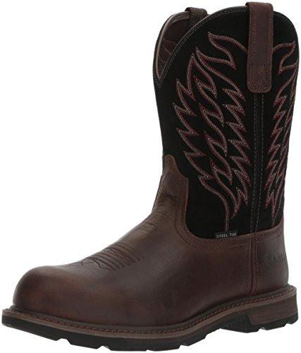 Ariat Work Men's Groundbreaker Pull-On Steel Toe Work Boot, Brown/Black, 9.5 D US by Ariat