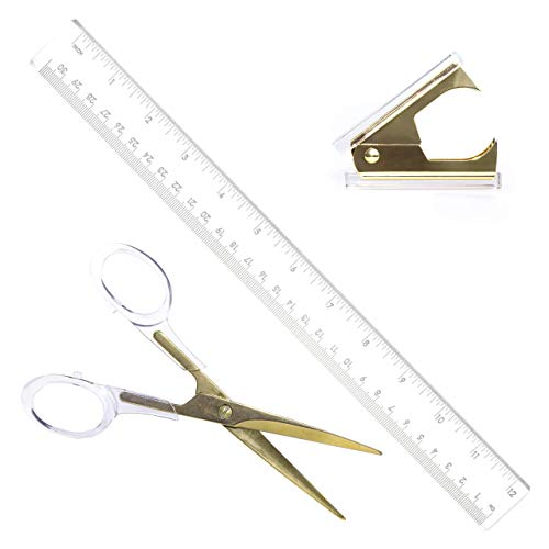 Staples Stationery - Gold Acrylic Scissors, Staple Remover, Ruler Gift Set | Premium Clear Stationery & Desk Accessories for Everyday Office Needs | Modern, High End, Chic, Luxury Goods | As Unique & Beautiful as You!