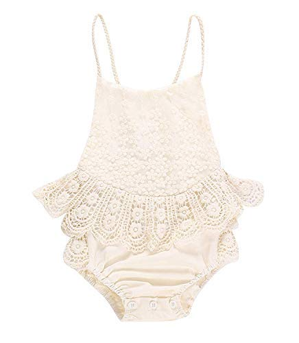 Infant Baby Girl Floral Halter Sleeveless Backless Romper Bodysuit Jumpsuit Outfits Ruffle Tulle Lace Like White Jade (Beige, 0-3 Months)