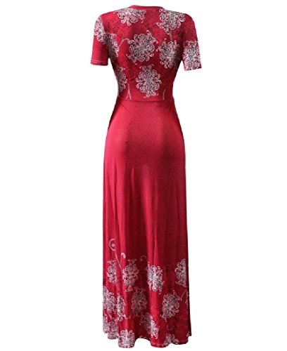 Coolred-femmes Style Folk V Cou Croix Bohème Floral Bechwear Robe Maxi 4