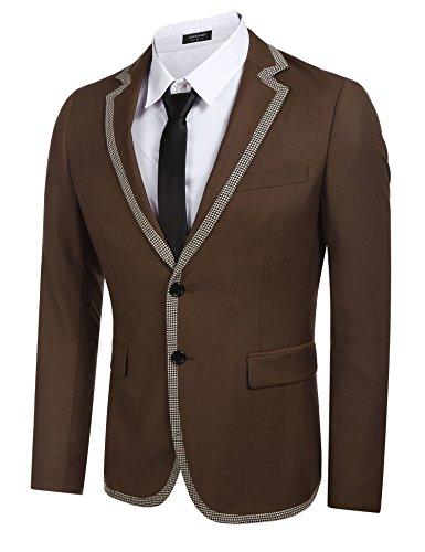 Brown Suit Coat (Coofandy Mens Classic Fit Dress Suit Jacket Slim Fit Party Blazer Suits (M, Type 2 Brown))