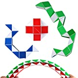 Speed Cube Snake Ruler Twisty Fidget Cube Puzzle Pack Stickerless Magic Snake Game Toys Collection Brain Teaser Christmas Gift for Kids (24 parts white)
