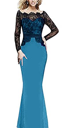 Viwenni Women Lace Maxi Cocktail Party Evening Fromal Gown Dress, Blue, Small