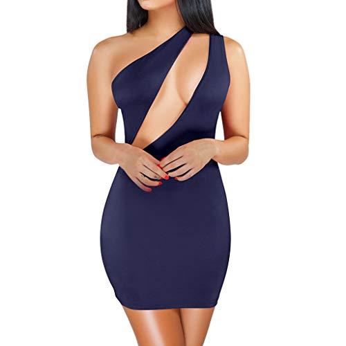 ♥ HebeTop ♥ Women Sexy One-Shoulder Hollow Out Sleeveless Solid Bodycon Short Pencil Dress Slim Club Mini Dress Dark Blue
