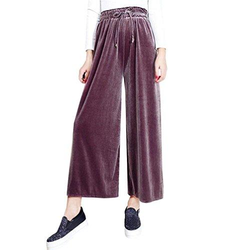 Women Pantaloni Fashion Coulisse Monocromo Grazioso Larghi Autunno Pantaloni Libero Lunghe Culotte Velluto Cintura Rosa Pantaloni Elastica Giovane Tempo Gonna Anaisy Elegante Donna Baggy 1TPxCqTdw
