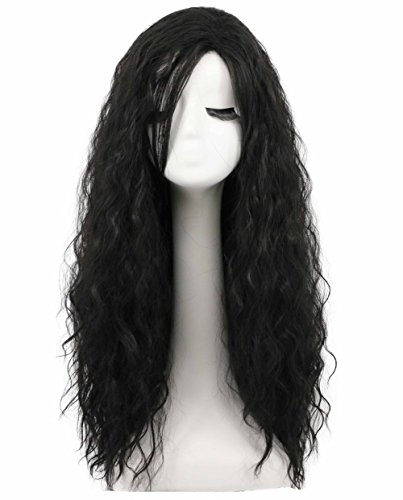 Karlery Fluffy Long Curly Black Halloween Cosplay Wig Anime Costume Wig