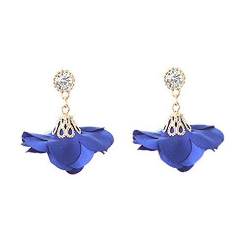 eroute66 Vintage Cloth Flower Rhinestone Pendant Earrings Women Ear Studs Party Decor - Blue