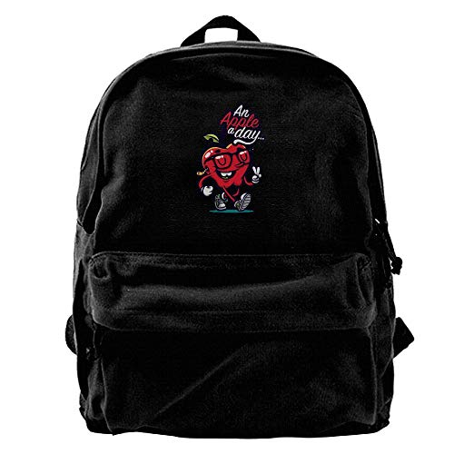 Used, Buecoutes An Apple A Day Specially Black Canvas Backpack for sale  Delivered anywhere in USA