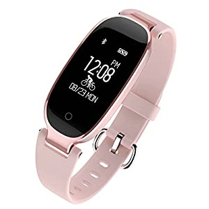 Fitness Tracker, DG2CHU Waterproof Activity Tracker with Heart Rate Monitors Pedometer and Sleep Monitor Calorie Counter Watch, fashion Smart Band for Women (Rose Gold)