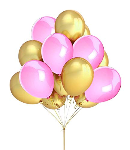 FECEDY 100pcs Gold Pink Balloons for Party Decoration 12