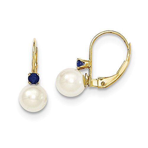 Pearl Sapphire Earrings (14k 0.2ct Yellow Gold 0.6IN Long 6-6.5mm White Freshwater Cultured Pearl & .10ct Blue Sapphire Leverback Earrings)