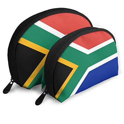 ARCHIE AHMED Portable Shell Makeup Storage Bag 2 Pack Brush Cosmetic Pouch Small Travel Organizer South-African-Flag Cash Handbag Clutch Purse Toiletry Pouch for Women