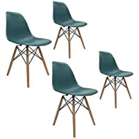 Apontus Eames Chair Natural Wood Legs Eiffel Dining Accent, Set of 4 (Turquoise)