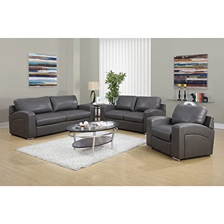 Monarch Specialties I 8502GY Charcoal Grey Bonded Leather Love Seat