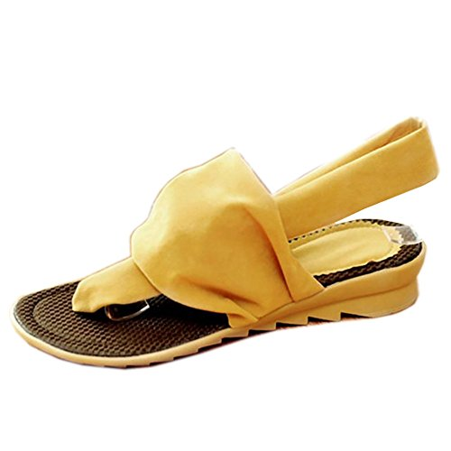 COOLCEPT Mujer Moda Chancletas Sandalias Tacon Bajo Tacon De Cuna Zapatos Beach Style Amarillo