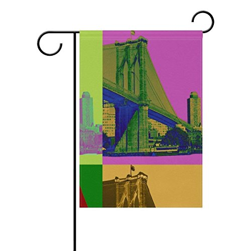 YQZsay Double Sided Family Flag Brooklyn Bridge Painting Polyester Outdoor Flag Home Party Decro Garden Flag -