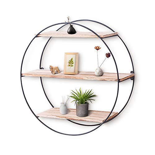 king do way Wall Shelf Rustic Wood Floating Shelves,Decorative Wall Shelf for Bedroom, Living Room, Bathroom, Kitchen, Office and More (Round)