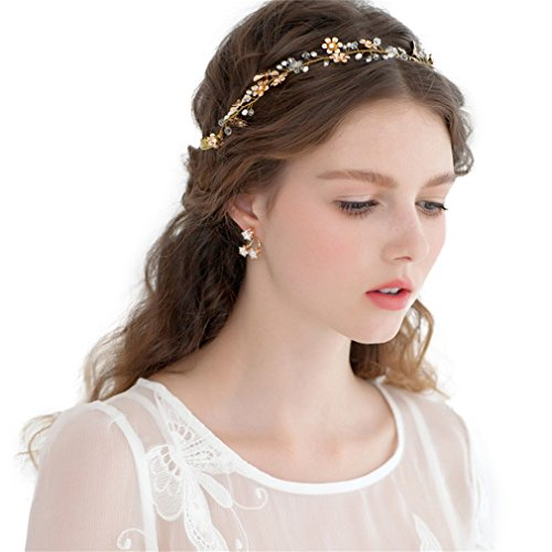 Cereoth gold Bridal Headband with pearls and flowers - Impressions Bridal Gowns