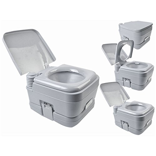 2.8 Gallon 10L Portable Toilet Travel Camping Outdoor/Indoor Toilet Potty Flush (Slow Close Wooden Toilet Seat compare prices)
