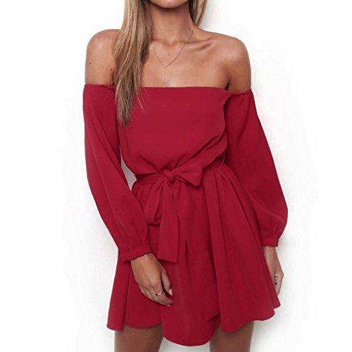 Misaky Women Off Shoulder Long Sleeve Belted Summer Black Red White Dress (L, Red) by Misaky