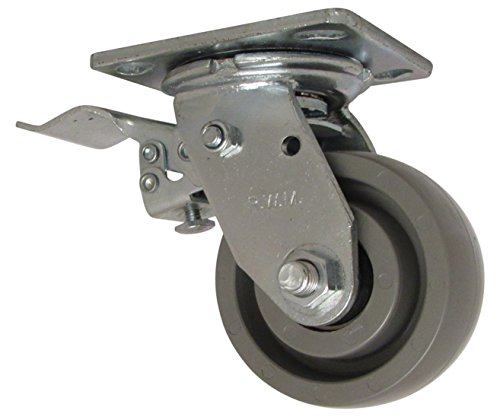 """RWM Casters 46 Series Plate Caster, Swivel with Face Contact Steel Total Lock Brake & Lock, Elastomer Wheel, Ball Bearing, 1050 lbs Capacity, 4"""" Wheel Dia, 2"""" Wheel Width, 5-5/8"""" Mount Height, 4-1/2"""" Plate Length, 4"""" Plate Width from RWM Casters"""