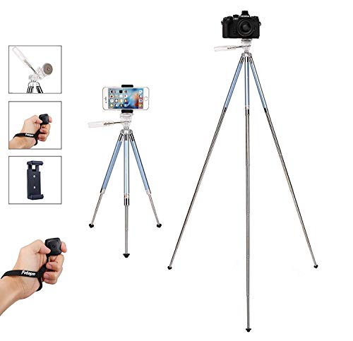 (Fotopro Tripod for iPhone, 39.5 Inch Phone Tripods, Lightweight Tripod with Bluetooth Remote/Smartphone Mount, Portable Tripod for Samsung, Huawei (Blue))