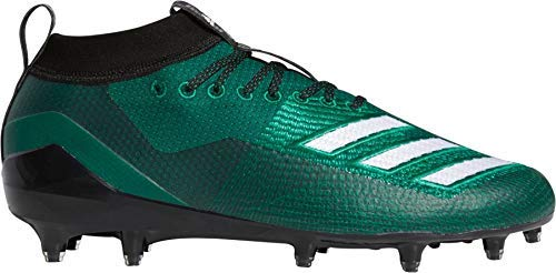adidas Men's Adizero 8.0 Football Shoe, Dark Green/White/Black, 9 M US