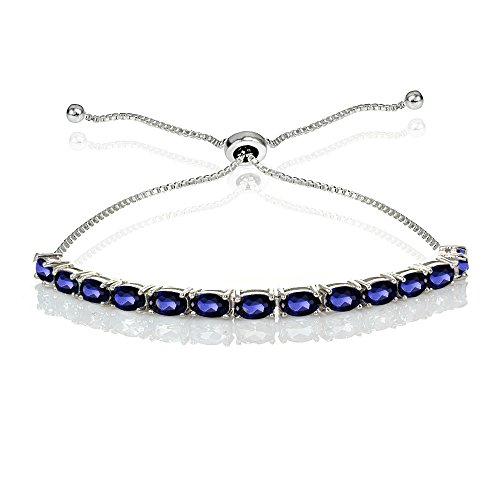 Sterling Silver 5x3mm Created Blue Sapphire Oval-Cut Bolo Pull-string Tennis Bracelet by GemStar USA
