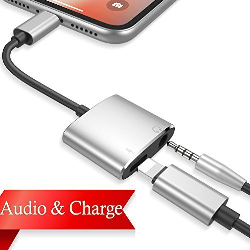 Headphone Adaptor for iPhone Adapter Charger Adapter Cable for iPhone X/XS/XR/8/8P 3.5mm Jack Dongle Aux Splitter Converter Adaptor Support to Music and Charge Replacement for iOS 12 System or More