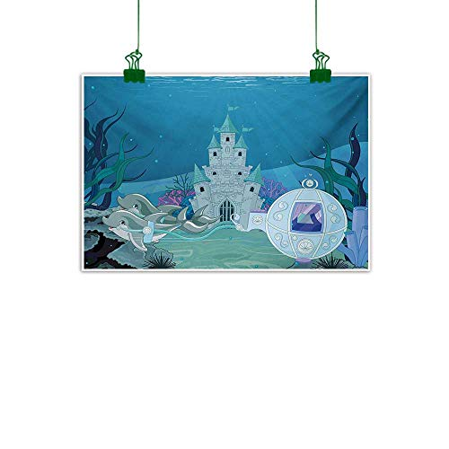 Anzhutwelve Ocean,Canvas Wall Art Fairytale Mermaid Castle with Dolphins Moss Fish Sun Beams Art Print Wall Canvas Painting Turquoise Pale Blue Teal W 47