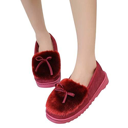 Clearance Sale! Women Snow Boots Cinsanong Fashion Plus Velvet Low Cut Shoes Flat Bottom Slip Bow Boots