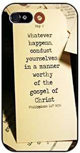 Day 2: Whatever happens conducts oruselves in a manner worthy ...Christ - Philippians 1:27 - Bible verse iPhone 5 / 5s black plastic case / Christian Verses