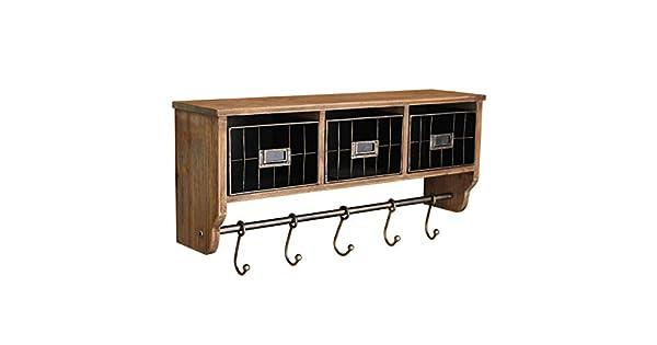 Amazon.com: Estante rústico de pared con ganchos y cestas ...