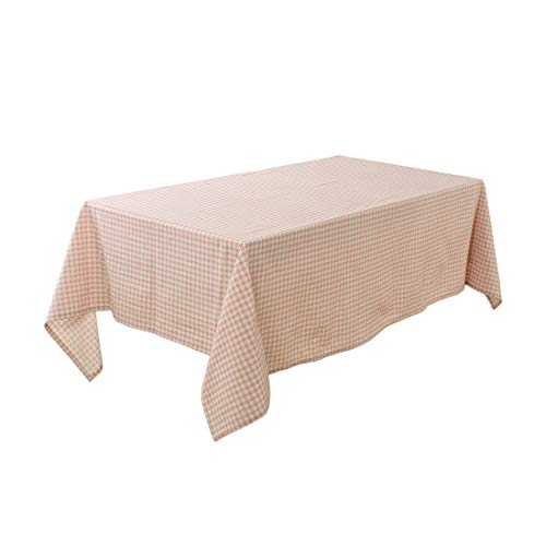 uxcell Pink Plaid Pattern Cotton Blends Rectangular Tablecloth Cover Water/Oil Stain Resistant 71 x 55 Inch for Wedding Dining Party Decor from uxcell