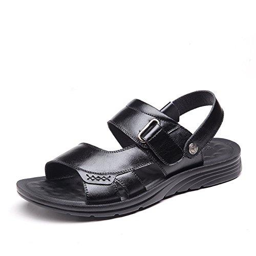 Traspirante Da Slipper Da Per Pelle Spiaggia Black Slip on In Sandali Marroni Il Scarpe Sandali Open Toe HGDR Uomo Libero Tempo HA8BqwxE