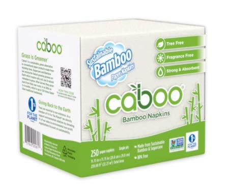 Caboo Servilletas de almuerzo de bambú compostables, 1 capa, 11.75 x 11.75 pulgadas, cuatro pliegues (caja de 4.000:16 paquetes de 250)