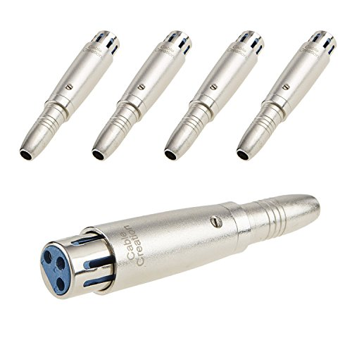 CableCreation [5-PACK] XLR 3 Pin Female to 1/4 6.35mm Female Socket Audio Adapter, Silver