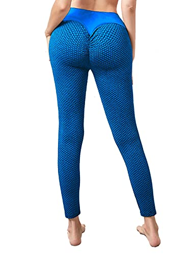 Xmoyaas Yoga Pants Butt Lifting Leggings for Women High Waist TIK Tok Workout Tights Blue