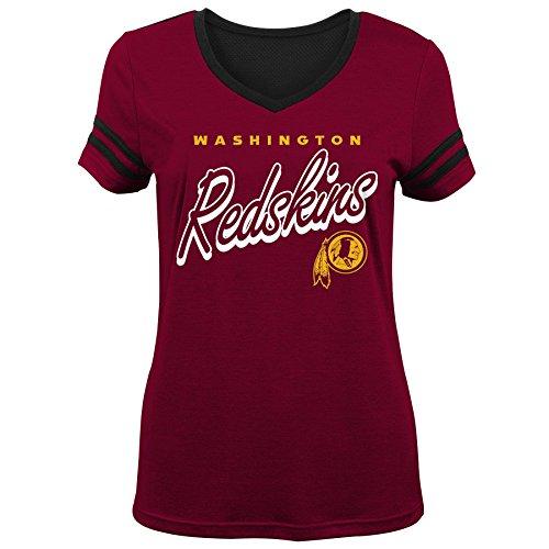 NFL by Outerstuff NFL Washington Redskins Youth Girls Sound Wave Short Sleeve Tee Burgundy, Youth Large(14)