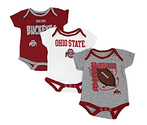 GEN2 Baby Ohio State OSU Buckeyes 3 Point Spread 3 Piece Bodysuit Set, Red/White/Grey, 3-6M - Apparel