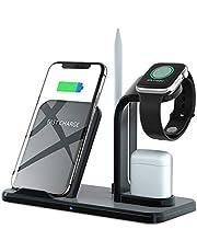 Ladestation Ständer für Apple Watch (QC3.0 Adapter Enthalten) Schnelles kabelloses Induktives Ladegerät für AirPods,iWatch,iPhone XS MAX/XR/X, Samsung Galaxy S10/S9/S8 and Andere Qi-Enabled Geräte